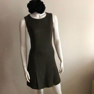 Olive Wool tweed sleeveless shift dress size 38